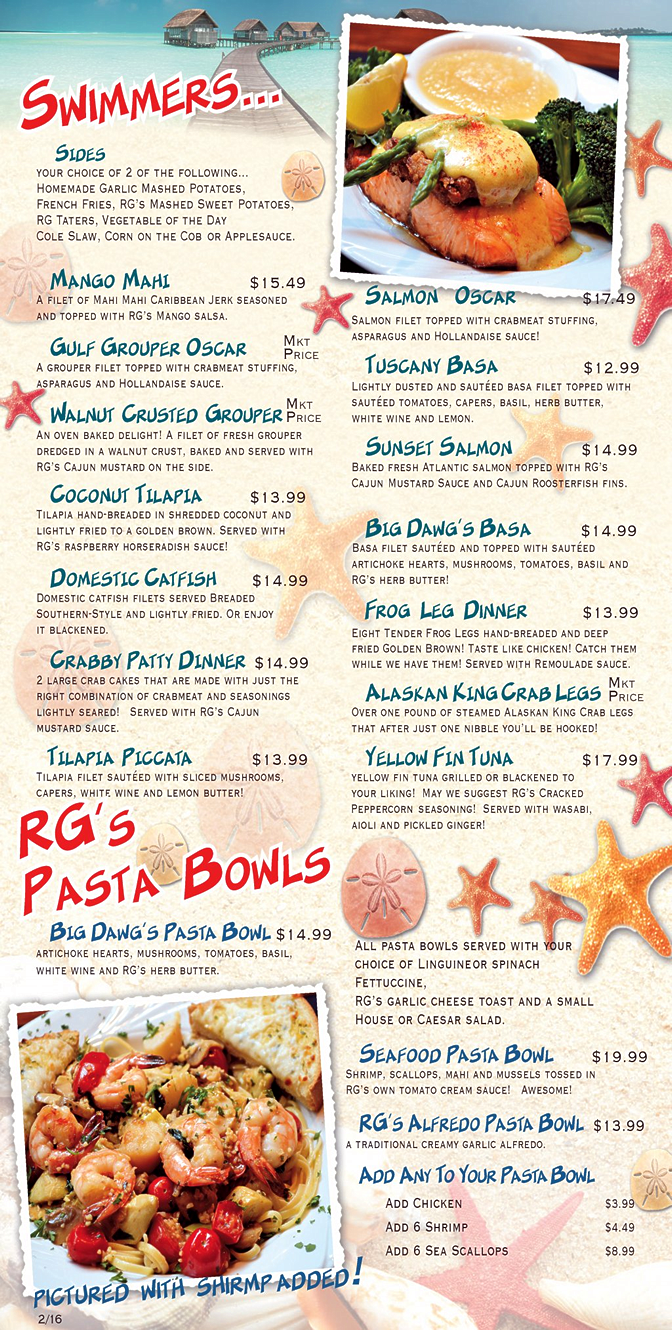 dinner-menu-rooster-fish-grill-largo-florida