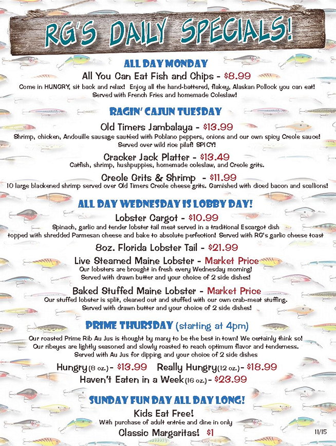 Specials rooster fish grill largo florida for Old florida fish house menu