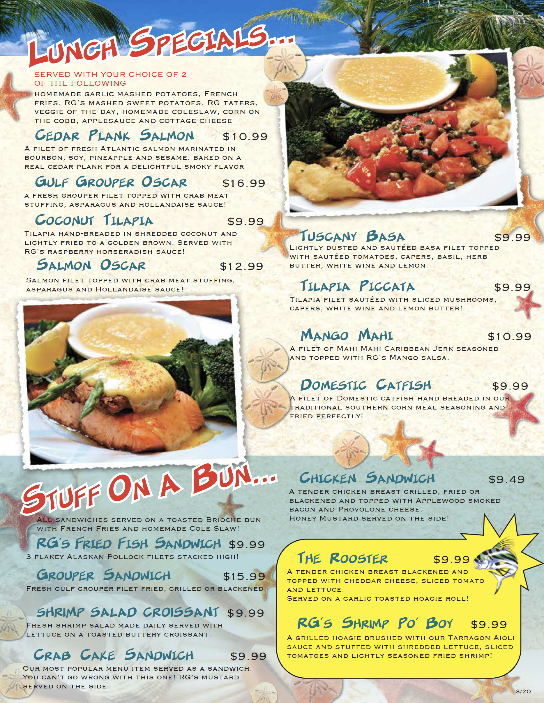 Lunch Menu for Roosterfish Grill in Largo, Florida